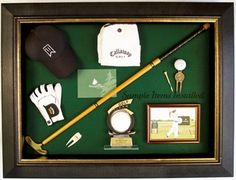 Golf display case for club, balls, hats, photos, tees, and more. $279