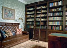 classic interior of the library in which everything in its place