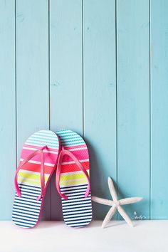"Happy beach sandals and starfish brighten up any beach lovers room! Also available with typography ""Life is better in Flip Flops"". Here: Fine Art Print - Professionally printed upon order. My photogra More"