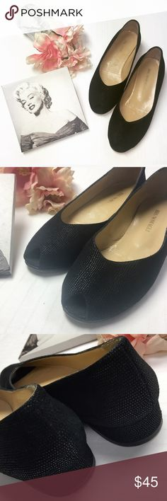 Bruno Magli Peep Toe Wedge Size 8 Black Bruno Magli Peep Toe with small 1.5in wedge heel. Pre Loved good condition with too much life left in them to not be loved again 😍 Bundle to receive a 15% discount on two or more & save with combined shipping rate! 💞💞 Bruno Magli Shoes Wedges