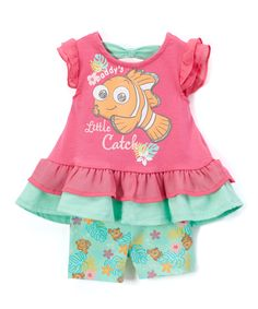 Finding Nemo Pink Flutter-Sleeve Dress & Shorts - Infant