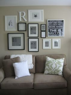Picture collage above couch | For The Home | Pinterest