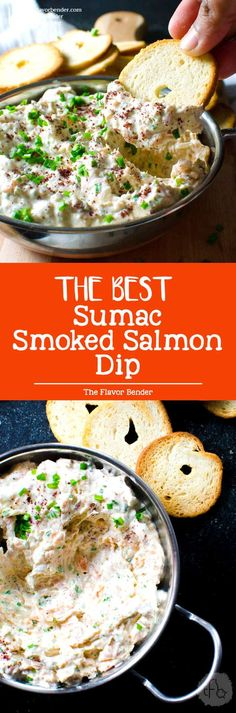 Sumac Smoked Salmon Dip - The BEST smoked salmon dip ever! Easy recipe and better than store bought because you can actually taste the smoked salmon! Plus, it's a perfect appetizer and spread for morning bagels! via @theflavorbender