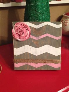 Grey Chevron Rustic Wood Photo Frame with Pink Flower - $15