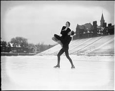 Reburn and Sonie Henie, figure skating team, skating on the rink at Varsity Stadium, Toronto, c. 1930. #vintage #Canada #1930s #sports