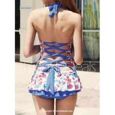 Cute Halter Strawberry Print Bandage One-Piece Women's Swimwear