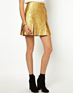 Ostwald Helgason Skirt with Box Pleats in Gold Brocade