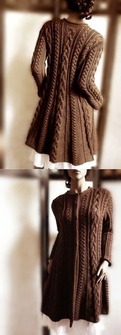 coat (the spokes). Sweater Coats, Knit Cardigan, Sweaters, Crochet Woman, Knit Crochet, Warm Dresses, Fabric Yarn, Sophisticated Style, Silk Sarees