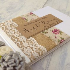 Vintage Rose Burlap and Rustic Hessian Wedding Guest Book, Ivory Lace, Handmade… Wedding Photo Albums, Wedding Album, Wedding Guest Book, Wedding Scrapbook, Baby Scrapbook, Scrapbook Albums, Hessian Wedding, Diy Wedding, Burlap Roses