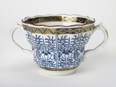 Porcelain cup for drinking chocolate made at Worcester in the 1780s.