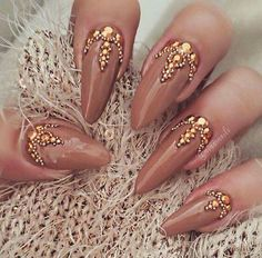 Copper stiletto nails