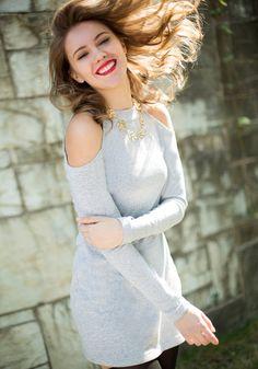 Shoulder Cutout Short Dress - Sassy Shoulder Cutout Dress.