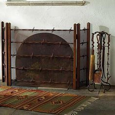 Wrought-Iron Rustic Woodland Fireplace Screen | Fireplace screens ...