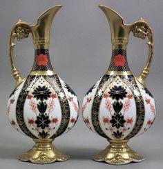 "A pair of Royal Crown Derby bone china ""Old Imari"" pattern ewers Royal Copenhagen, Royal Doulton, Delft, Royal Crown Derby, Antique Auctions, China Patterns, Fine Porcelain, Ottomans, Fine China"