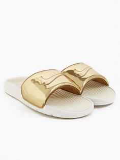 Nike Gold Liquid Metal Benassi Solarsoft Slides | oki-ni