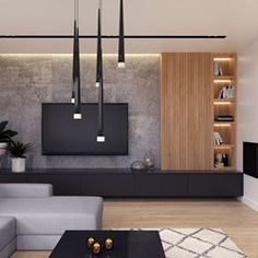 Living Room Wall Units, Living Room Tv Unit Designs, Living Room Interior, Home Living Room, Home Interior Design, Modern Tv Room, Modern Tv Wall Units, Salas Home Theater, Living Haus