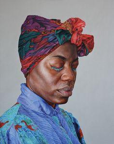 """Latoya"" - Alan Coulson, oil on panel {contemporary artist scarf female head african-american black woman face portrait artwork painting} Prayerful !!"