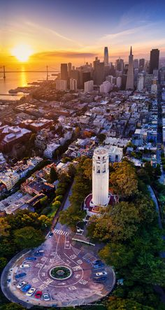 San Fancisco Architecture : [San Francisco: Aerial view above Coit Tower looking South toward Downtown and t. San Francisco City, San Francisco Travel, San Francisco California, California Dreamin', Coit Tower San Francisco, San Francisco Skyline, Nova Orleans, San Francisco Photography, City Aesthetic