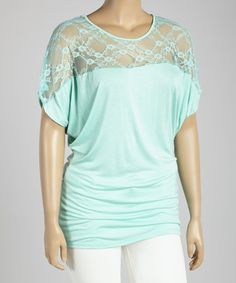 Another great find on #zulily! Mint Floral Lace Cape-Sleeve Top - Plus by Poliana Plus #zulilyfinds