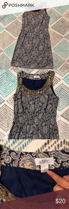 Ann Taylor LOFT Sequin Scoop neck Sleeveless Dress Beautiful Ann Taylor Loft women's size 4, blue and cream sleeveless dress with Sequin scoop neckline that goes around the whole neck front to back. There is also an elastic waistband. It is made in India, made of 100% cotton Ann Taylor Dresses