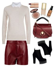 """Chloe leather shorts"" by thestyleartisan ❤ liked on Polyvore featuring See by Chloé, Chloé, Dolce&Gabbana, Charlotte Tilbury, Bobbi Brown Cosmetics and winterboots"