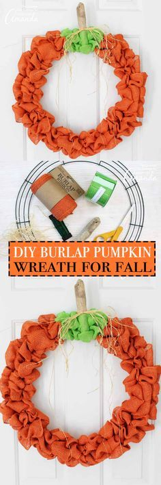 this burlap pumpkin wreath is perfect for fall all the way through thanksgiving you