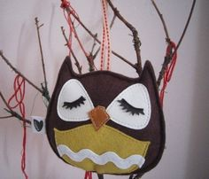 Brown Stewart the Owl Holiday Tree Wool Felt Applique by Cuore, $10.00
