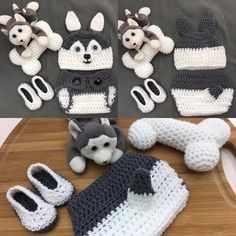 "6 Likes, 3 Comments - Francesca4me (@francesca4me) on Instagram: ""Crochet Newborn Husky Hat, Diaper Cover, Booties, and Bone #crochet #handmade #etsy #etsystore…"""