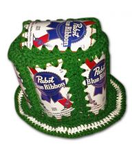 Pabst Blue Ribbon PBR Handmade Crochet Green Beer Can Hat - FREE SHIPPING!