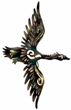 Free Form Duck in Flight by iUniqueArt. $159.95. Hand-Cut with Plasma Torch. Mix & Match with our other great pieces. Made in Mexico. Strong 22-Gauge Sheet Metal Construction. Hand-Painted and Finished with Outdoor Quality Paints. This is on of our favorite birds. The metalwork and painting, especially with the feathers, is truely exceptional.         * Dimensions: 14in x 36in x 8in     * Weight: 7 lbs     * Lead free metal     * Lead free paint     * Indoor/Out...