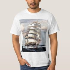 Shop Tall Ship Thessalus T-Shirt created by GarysRetroGarage. Tall Ships, Fitness Models, Unisex, Casual, Sleeves, Mens Tops, Cotton, How To Wear, T Shirt