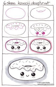 How to draw a Kawaii donut or should that be Learn to draw a doughnut, step by…