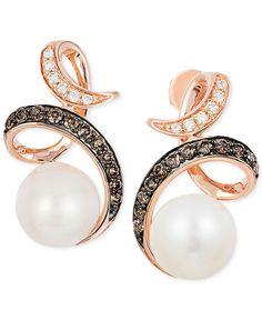 Le Vian Freshwater Pearl (8mm) and Diamond (1/3 ct. t.w.) Drop Earrings in 14k Rose Gold