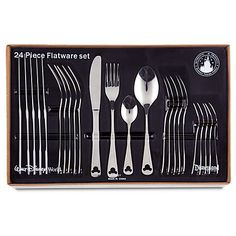 DISNEY PARKS EXCLUSIVE Serve your favorite guests with a smile and our 24 Piece, Mickey Mouse Flatware Set. This fine stainless steel utensil service for six features an elegant Mickey icon cut-out design. Mickey Mouse House, Mickey Mouse Kitchen, Disney Mickey Mouse, Minnie Mouse, Mickey Head, Kitchen Themes, Kitchen Sets, Kitchen Stuff, Kitchen Ware