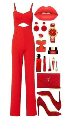 0532cc5d29d Jumpsuit Elegante, Dressy Outfits, Summer Outfits, Red Fashion, Versace,  Business Outfits