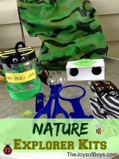 Nature Explorer Kits. Explore the great outdoors or your own backyard with bug jars, binoculars, magnifying glasses and more from Oriental Trading. Makes a great idea for a camping activity or boy's party theme, too!