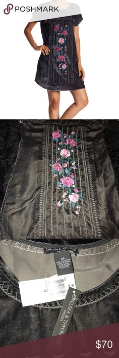 NWT Chelsea and Theodore Gray Velvet dress defect* Defect as noted in picture *Price reduction noted NWT SIZE XS chelsea and theodore Dresses
