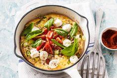 Gevulde omelet met tomaatjes, geitenkaas en zonnebloempitjes van Dafne Schippers