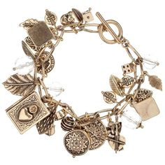 Mixed Vintage Gold Charms Bracelet ($18) ❤ liked on Polyvore featuring jewelry, bracelets, accessories, pulseras, jewels, women's jewellery, women+jewellery, vintage charm bracelet, gold charm bracelet and vintage gold bracelet