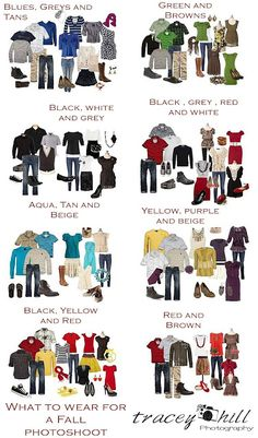 What to Wear for Family Pictures This was so helpful! What to Wear for Family Pictures - so you look good together! Family Picture Colors, Fall Family Pictures, Fall Photos, Family Photos What To Wear, Outfits For Family Pictures, Family Picture Clothes, Large Family Photos, Extended Family Pictures, Fall Pics
