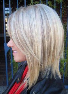 Lowlights on platinum blonde long bob.