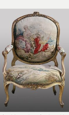 *Rococo Revisited — Manufacture de Beauvais et Louis Delanois,. Rococo Furniture, French Furniture, Rustic Furniture, Vintage Furniture, Old Chairs, Antique Chairs, Furniture Styles, Furniture Design, Furniture Removal