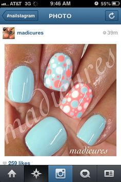Pale aqua manicure with coral, aqua & white polka dot accent nails Get Nails, Fancy Nails, Love Nails, How To Do Nails, Pretty Nails, Spring Nails, Summer Nails, Do It Yourself Nails, Polka Dot Nails