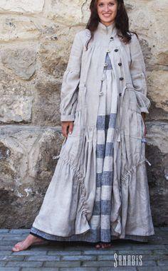 """Купить Легкое льняное пальто """" Бохо шик"""" - серый, пальто, летнее пальто"""