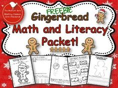 FREE Gingerbread Math and Literacy NO PREP packet!   word problems, color by sight word, sigh word watches, domino addition and MORE!