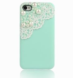 Rose Rose Carlson you need this: Cute Mint Green Pearl Cute Lace Deco Ice Cream Case Cover for iPhone 4 Cool Iphone Cases, Cool Cases, Diy Phone Case, Cute Phone Cases, 5s Cases, Coque Iphone 4, Azul Tiffany, Tiffany Blue, Ideias Diy