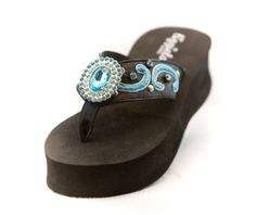 Turquoise Peacock Flip Flops: Shoes