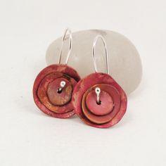 Copper Poppy Flower Earrings Sterling Silver by BellaBijouToo, $42.00