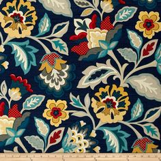 Waverly Katia Adriatic from @fabricdotcom  Screen printed on cotton this medium weight fabric is very versatile. This fabric is perfect for window treatments (draperies, valances, curtains, and swags), bed skirts, duvet covers, pillow shams, toss pillows, tote bags, aprons, slipcovers and upholstery. Colors include blue, gold, red, teal and grey.