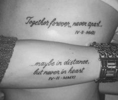 Couple Tattoo Quotes, Couple Tattoos Love, Love Quote Tattoos, Tatto Love, Family Tattoos, Fun Tattoo, Matching Quote Tattoos, Matching Sister Tattoos, Matching Quotes